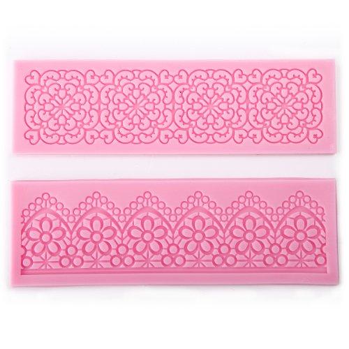 #581 - Stampo in silicone a forma di merletto per decorazioni torte in pasta di zucchero, confezione da 2 pezzipezzi