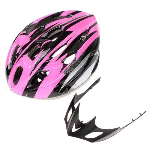 SODIAL (R) Bici adulta della bicicletta Casco in carbonio bello con visiera rosa circonferenza della testa 54-65 centimetri / Testa larghezza sotto 16 centimetri