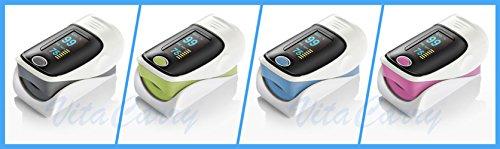 Saturimetro Pulsossimetro da dito con display a colori (Azzurro)