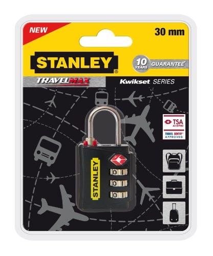 Stanley 81140393401 Lucchetto TSA a 3 Cifre Nero con Indicatore di Sicurezza in Zinco, 30 mm