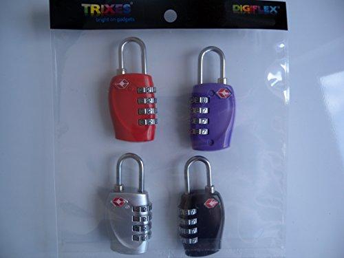 TRIXES x 4 Lucchetto di combinazione per valigie e bagagli di viaggio dalla TSA