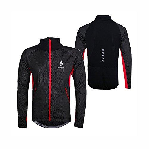 WOLFBIKE-Uomini-Fleece-termico-Giacca-bicicletta-antivento-bici-bicicletta-Vento-Cappotto-Abbigliamento-casual-manica-lunga-Maglia-impermeabile-rosso-3XL-0