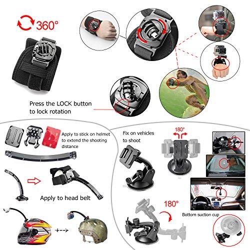 Zookki Essenziale Accessori per GoPro Hero 4 3+ 3 2 1 Black Silver Kit di Accessorio per GoPro 4 3+ 3 2 1 Nero Argento SJ4000 SJ5000 SJ6000, Fotocamera Accessorio Set per GoPro Hero4 Hero3+ Hero3 Hero2