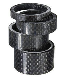 4pcs diverse dimensioni in fibra di carbonio pieno bici bicicletta auricolare staminali distanziale rondelle guarnizioni 5mm 10mm, 15mm, 20mm (nero)