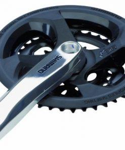 Shimano 6550 - Guarnitura pignone in alluminio Tourney, pedivella 170 mm, 48 / 38 / 28 denti con anello di protezione catena, colore: Nero/Argento
